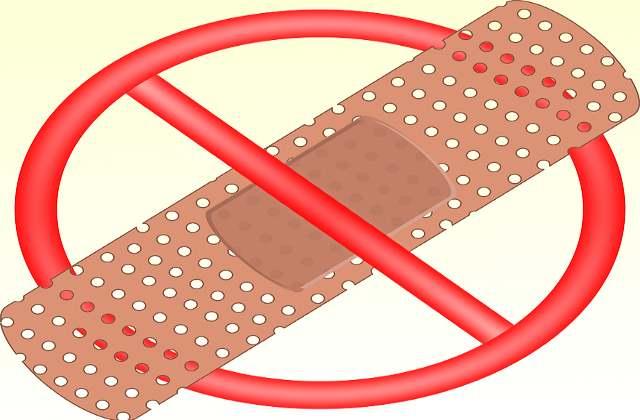 Запрещается накладывать пластырь