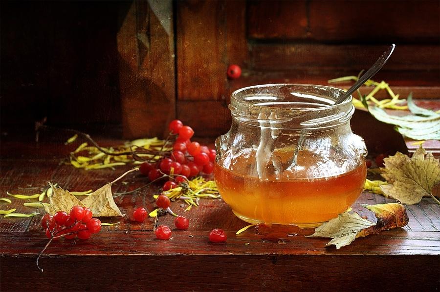 Мед и калиновый сок