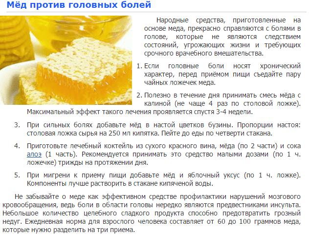 Лечение мигрени медом